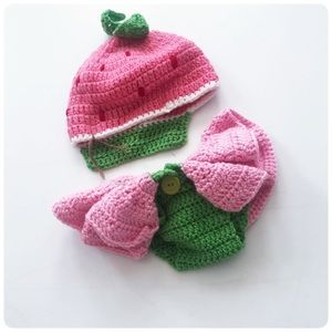 Other - Newborn baby knit strawberry costume